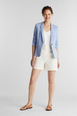 Fitted textured blazer, recycled, LIGHT BLUE, detail