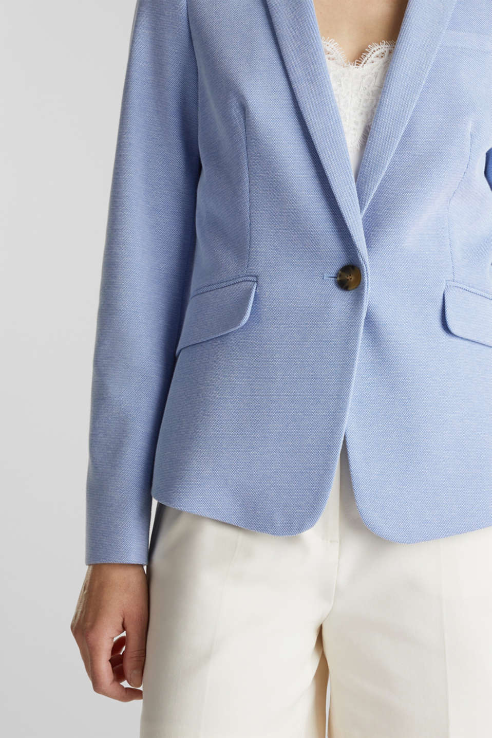Fitted textured blazer, recycled, LIGHT BLUE, detail image number 2