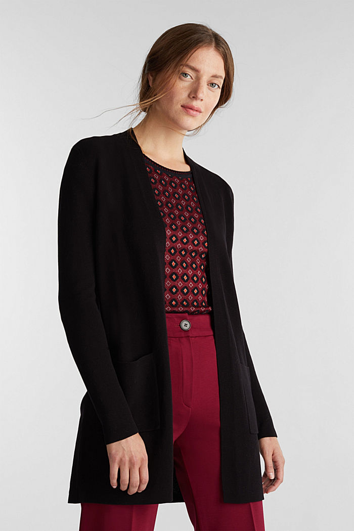 Knit cardigan in 100% cotton, BLACK, detail image number 0
