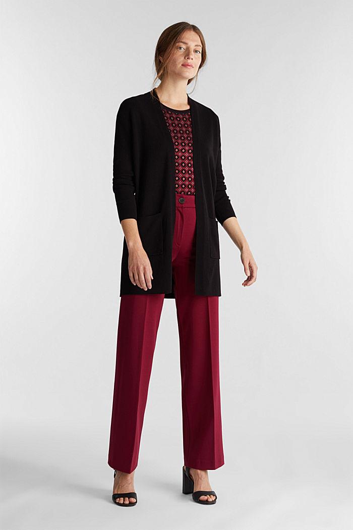 Knit cardigan in 100% cotton, BLACK, detail image number 1