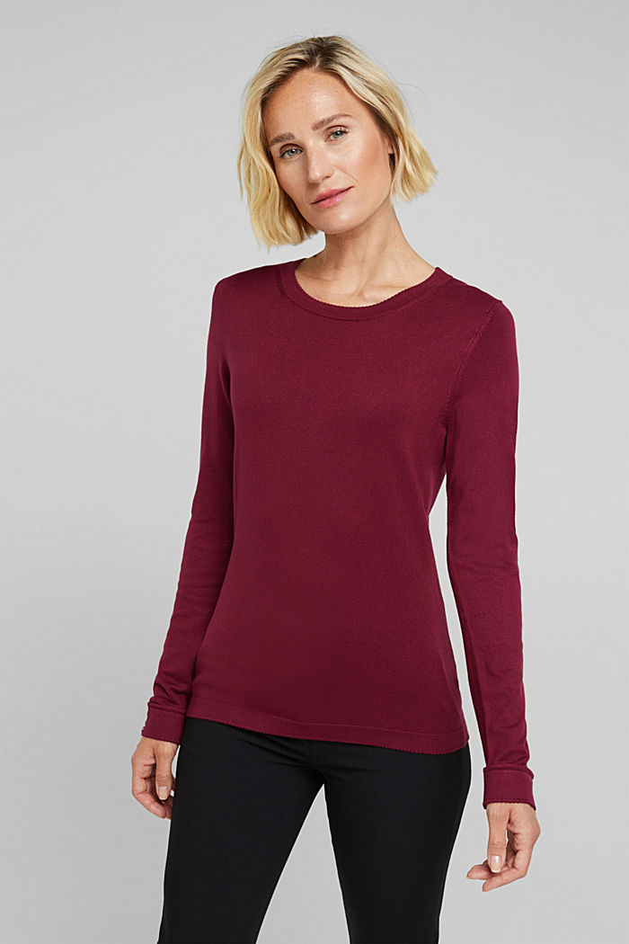 Jumper containing LENZING™ ECOVERO™, BORDEAUX RED, detail image number 0