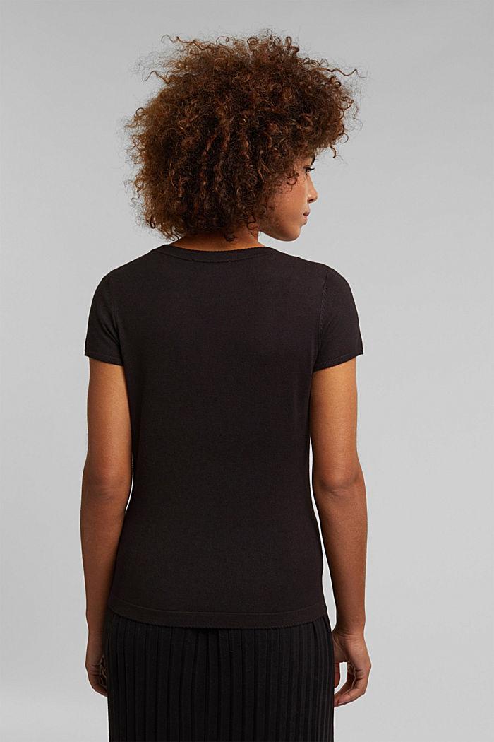 Kurzarm-Pullover, LENZING™ ECOVERO™, BLACK, detail image number 3