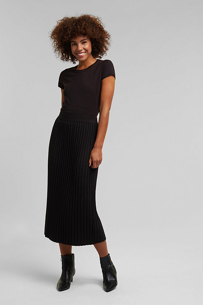 Kurzarm-Pullover, LENZING™ ECOVERO™, BLACK, detail image number 1