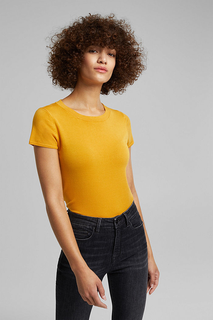 Kurzarm-Pullover, LENZING™ ECOVERO™, HONEY YELLOW, detail image number 0