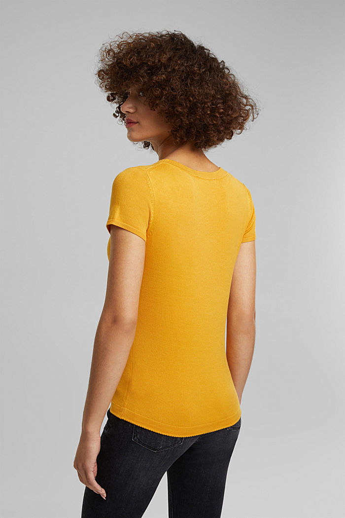 Kurzarm-Pullover, LENZING™ ECOVERO™, HONEY YELLOW, detail image number 3
