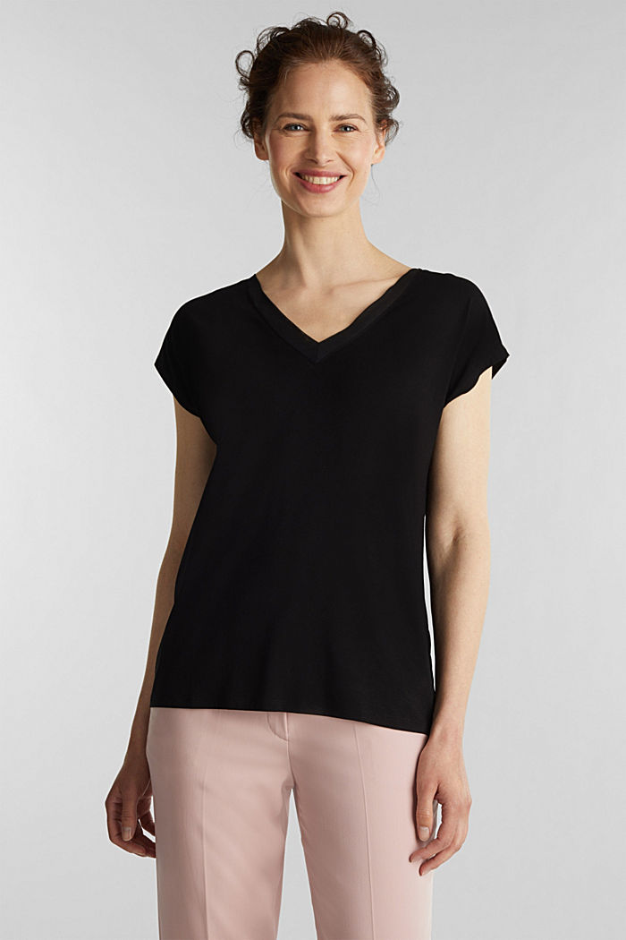 Stretch-Shirt mit Chiffon-Blenden, BLACK, overview