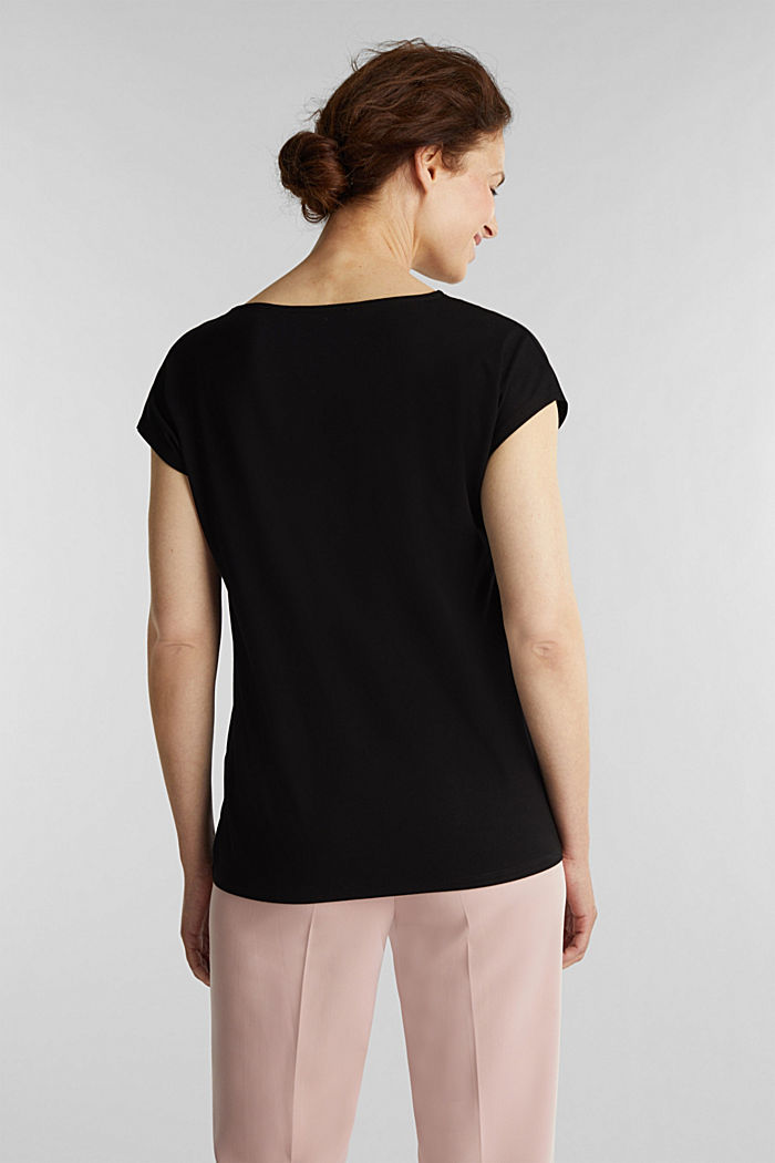 Stretch top with chiffon trims, BLACK, detail image number 3