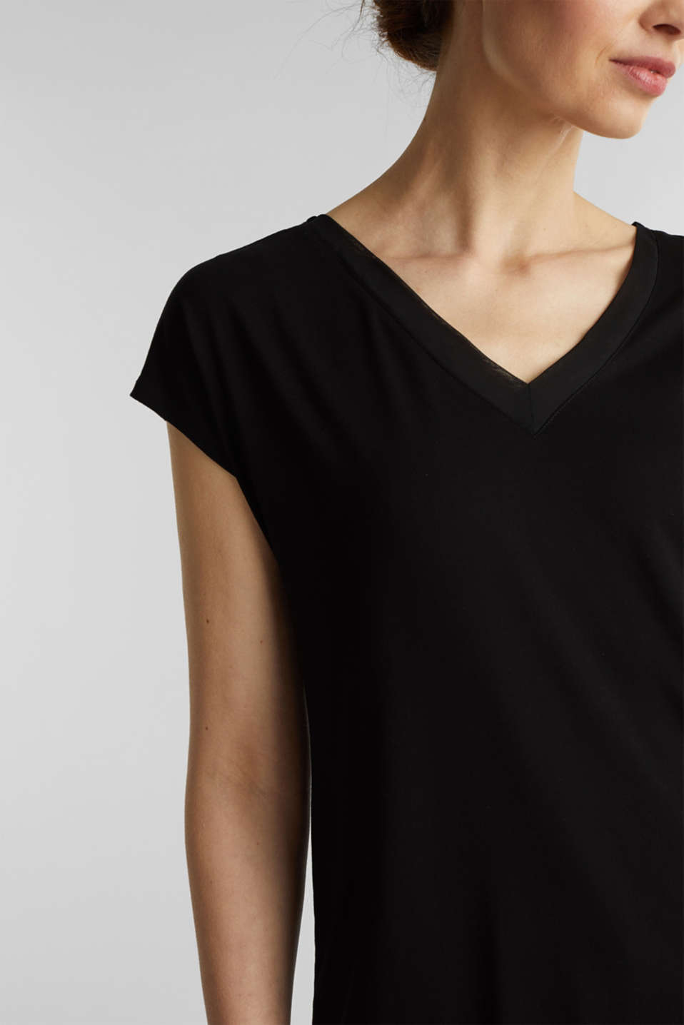 Stretch top with chiffon trims, BLACK, detail image number 2