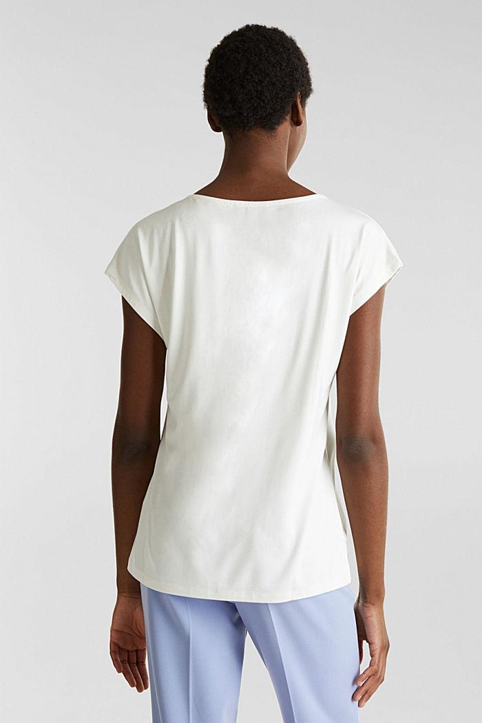 Stretch-Shirt mit Chiffon-Blenden, OFF WHITE, detail image number 3