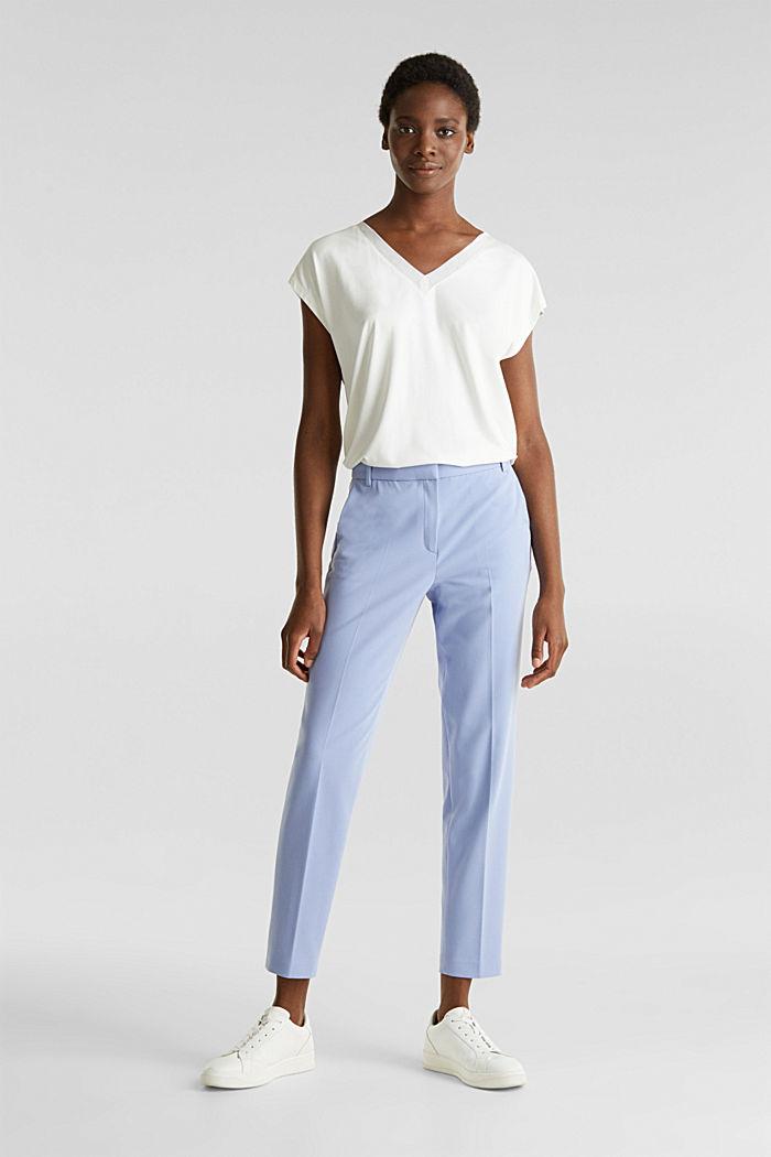 Stretch-Shirt mit Chiffon-Blenden, OFF WHITE, detail image number 1