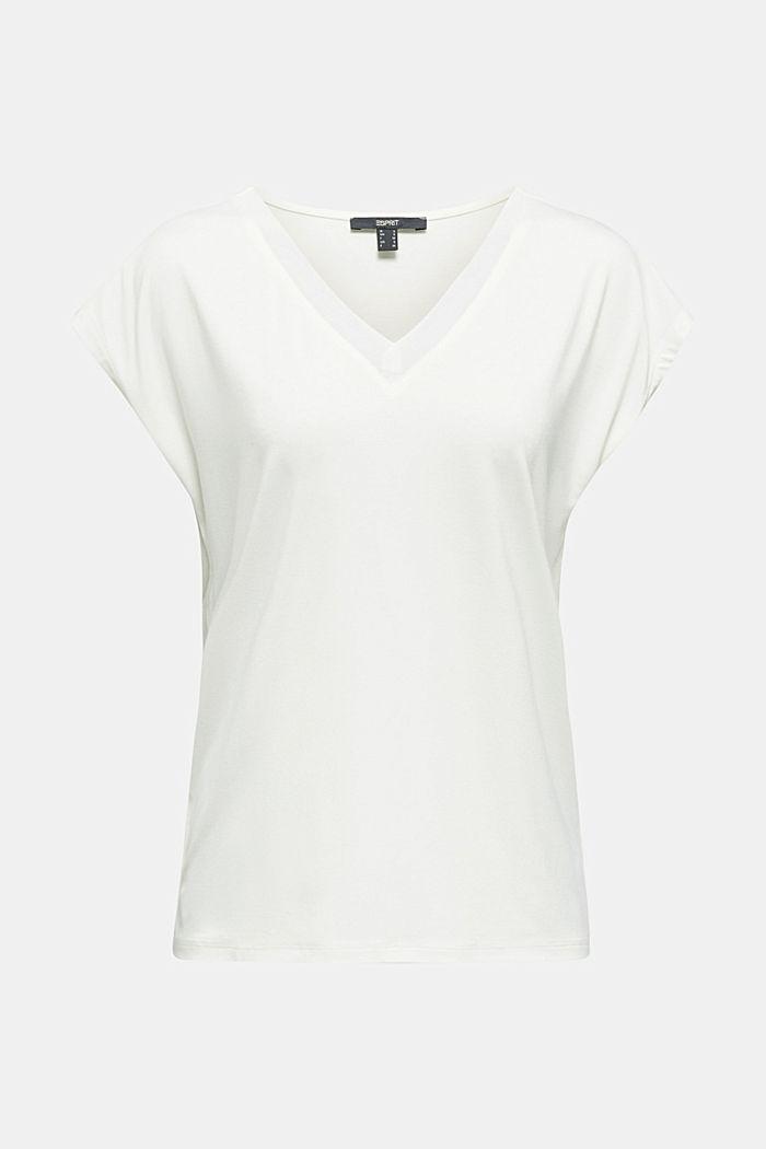 Stretch-Shirt mit Chiffon-Blenden, OFF WHITE, detail image number 7
