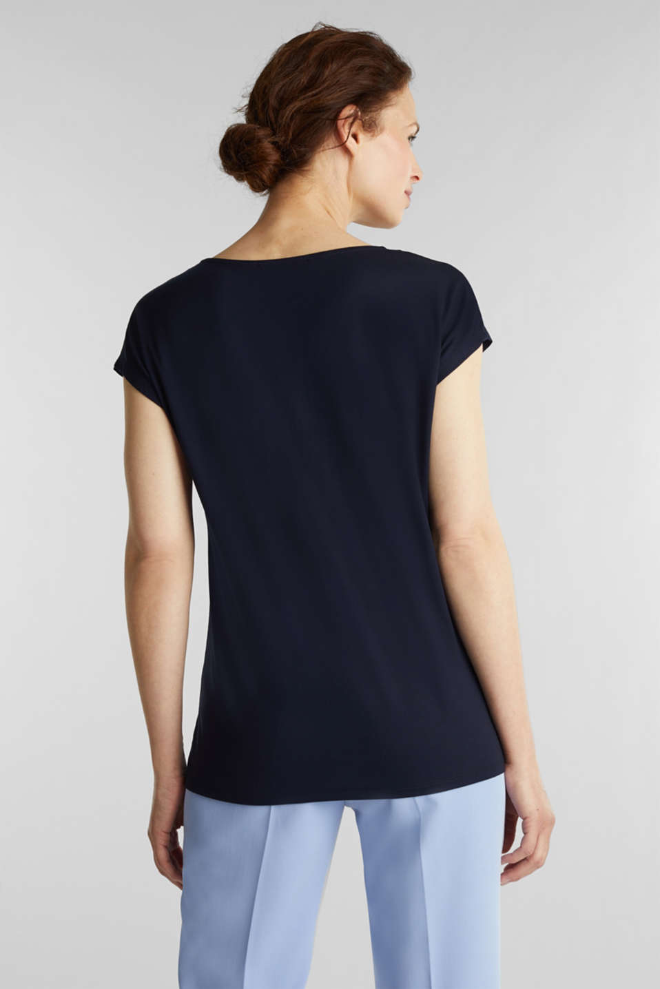 Stretch top with chiffon trims, NAVY, detail image number 3