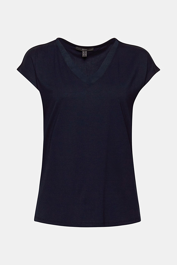 Stretch top with chiffon trims, NAVY, detail image number 5