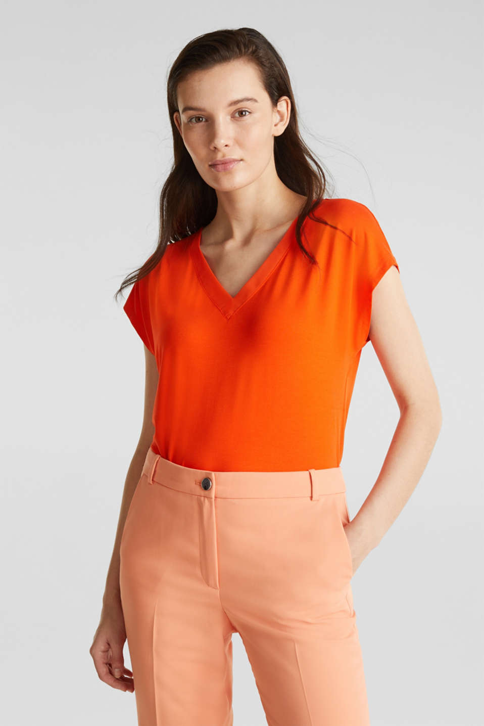 Esprit - Stretch-shirt med chiffonkanter