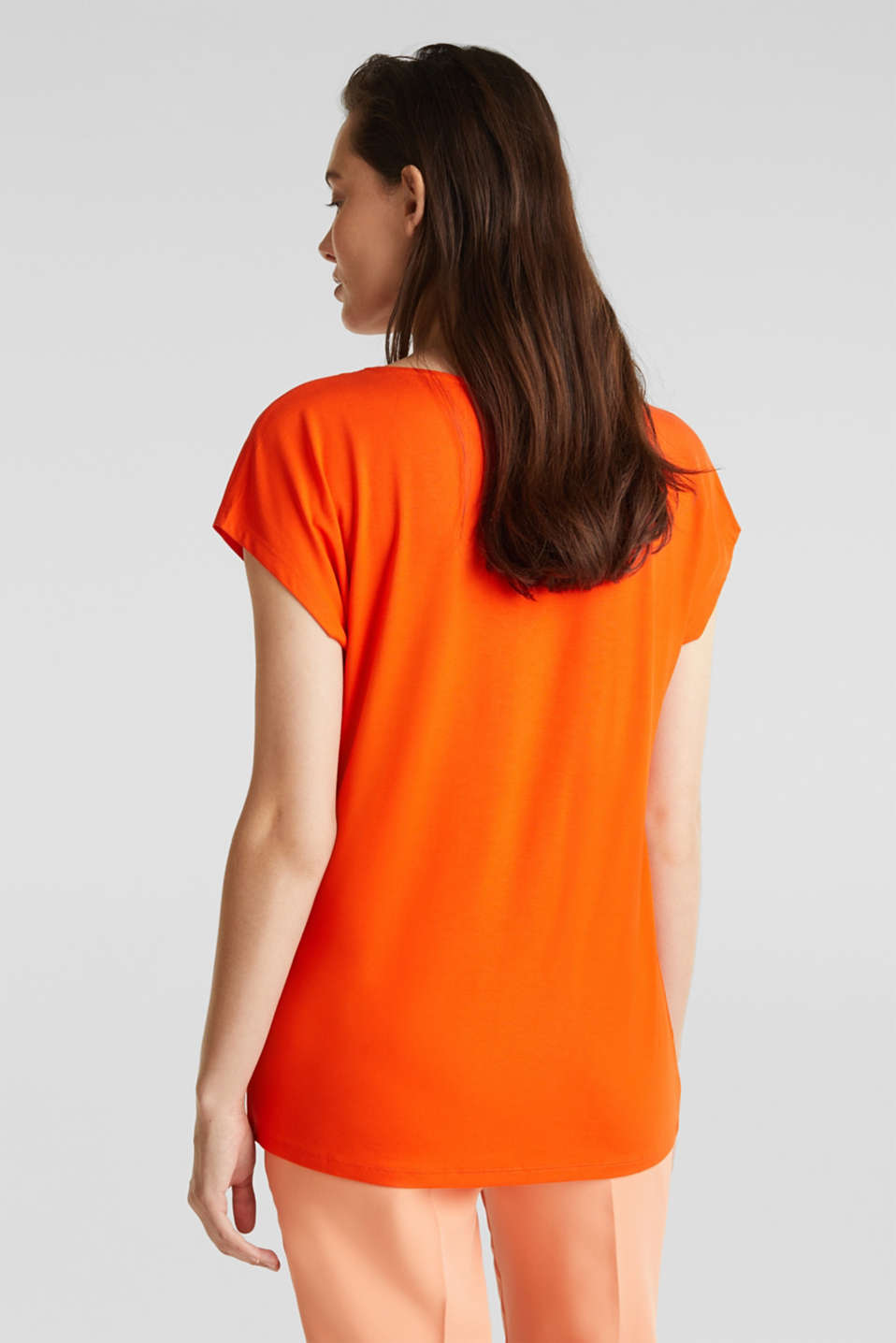 Stretch top with chiffon trims, RED ORANGE, detail image number 3