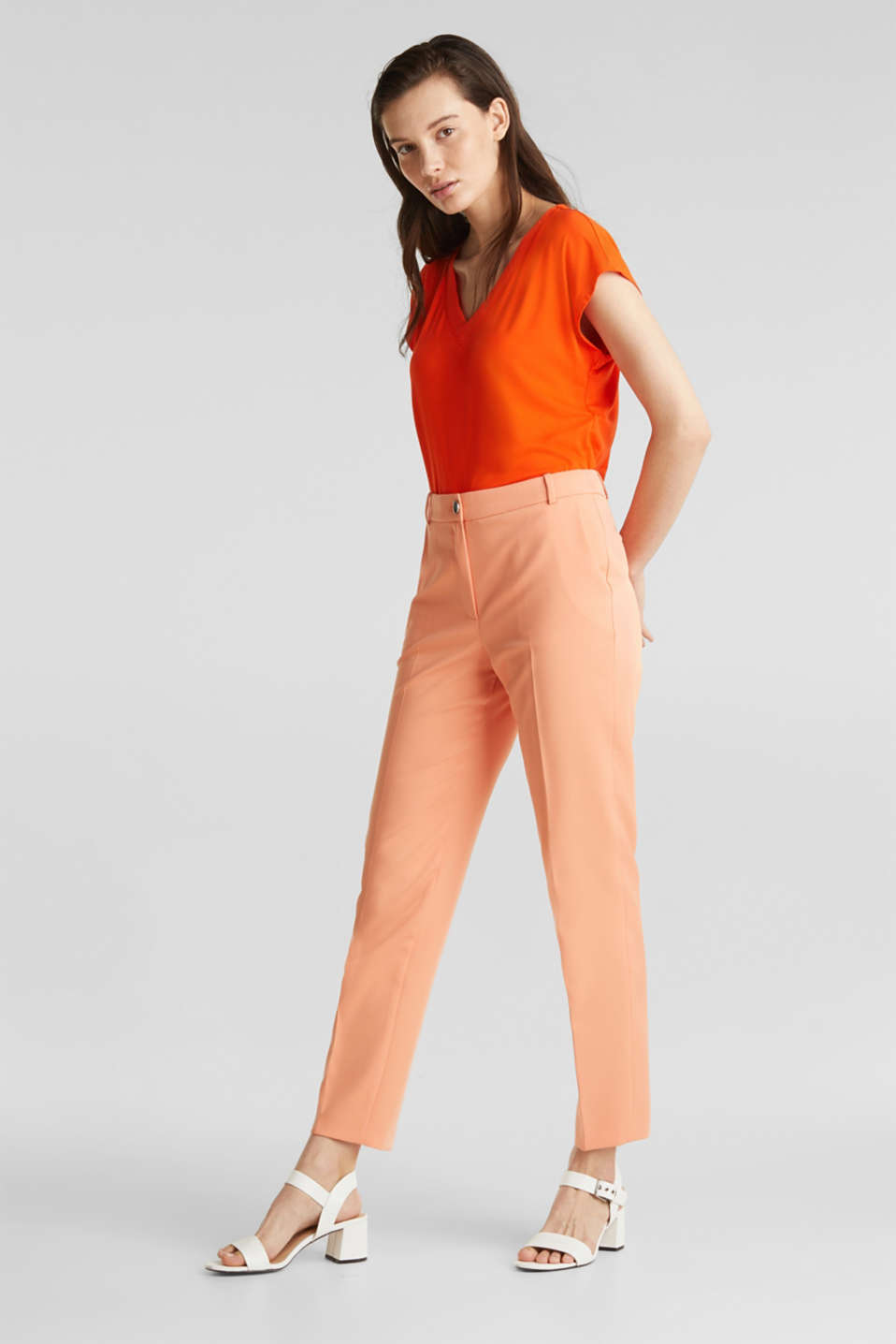 Stretch top with chiffon trims, RED ORANGE, detail image number 5