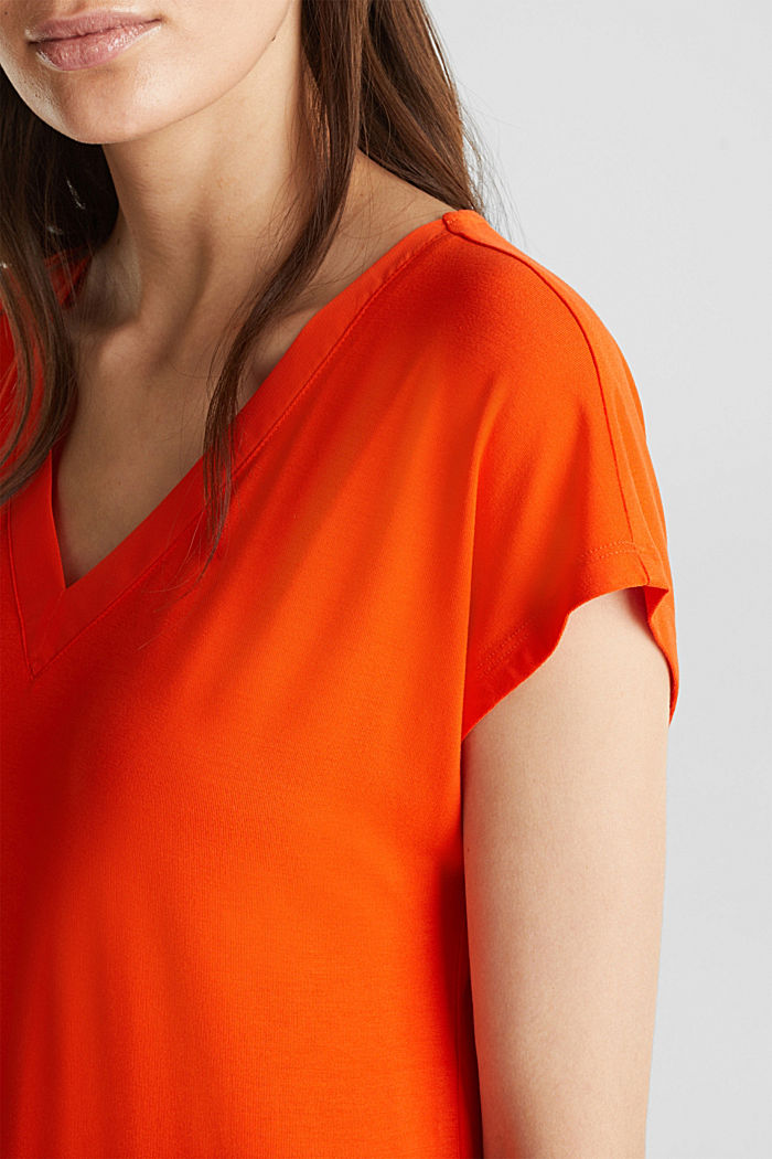 Camiseta elástica con tiras de gasa, RED ORANGE, detail image number 2