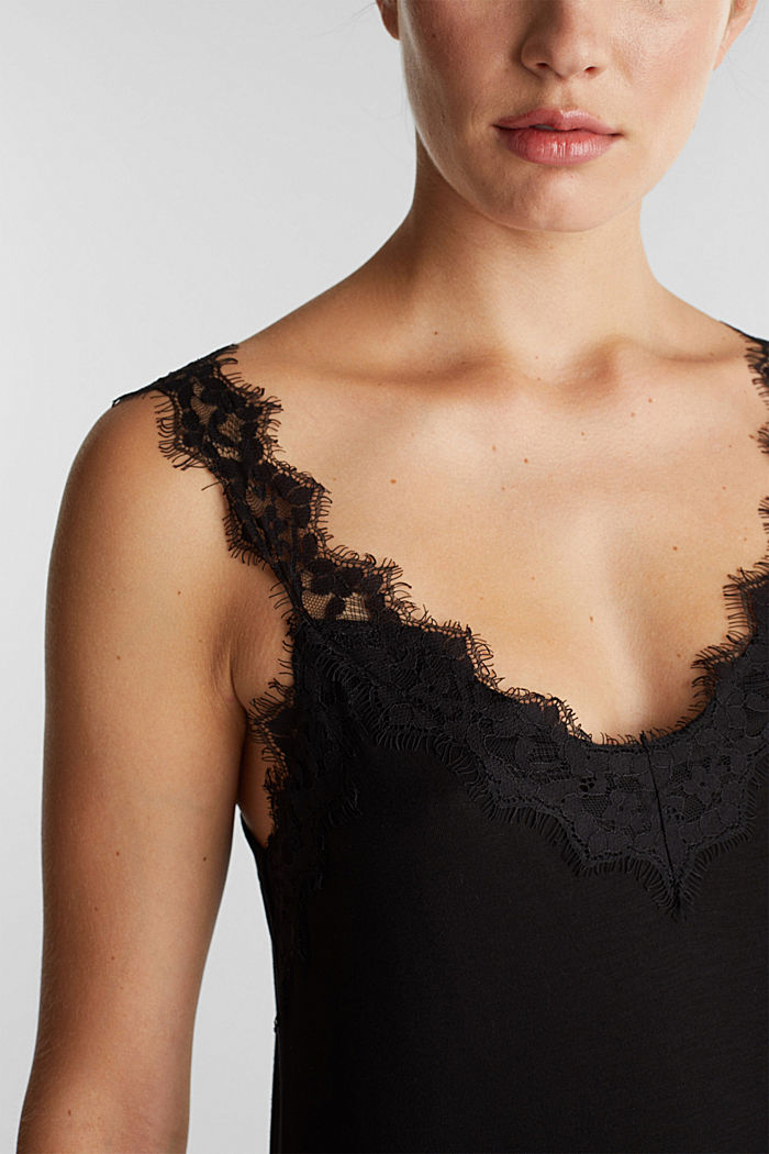 Jersey top with lace, BLACK, detail image number 2