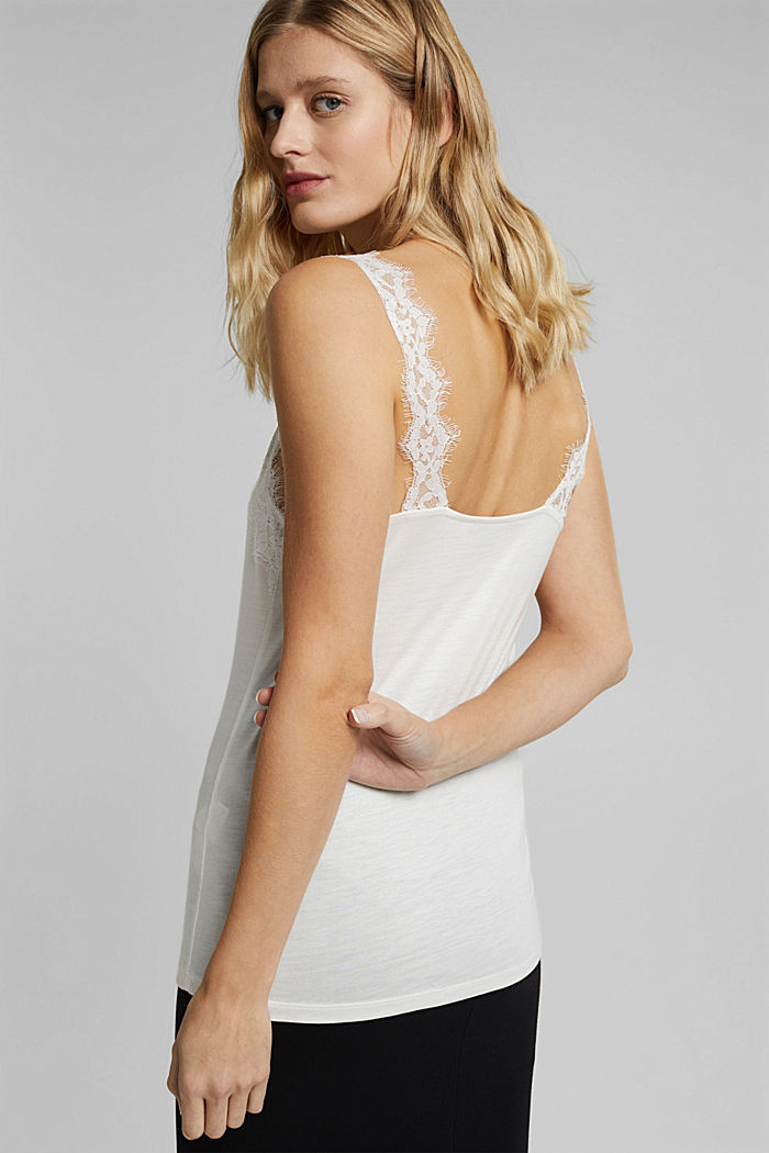 Jersey top with lace, OFF WHITE, detail image number 2