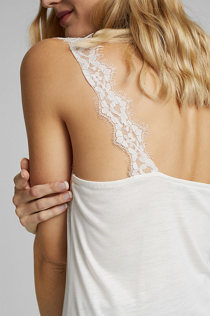 Jersey top with lace, OFF WHITE, detail image number 1