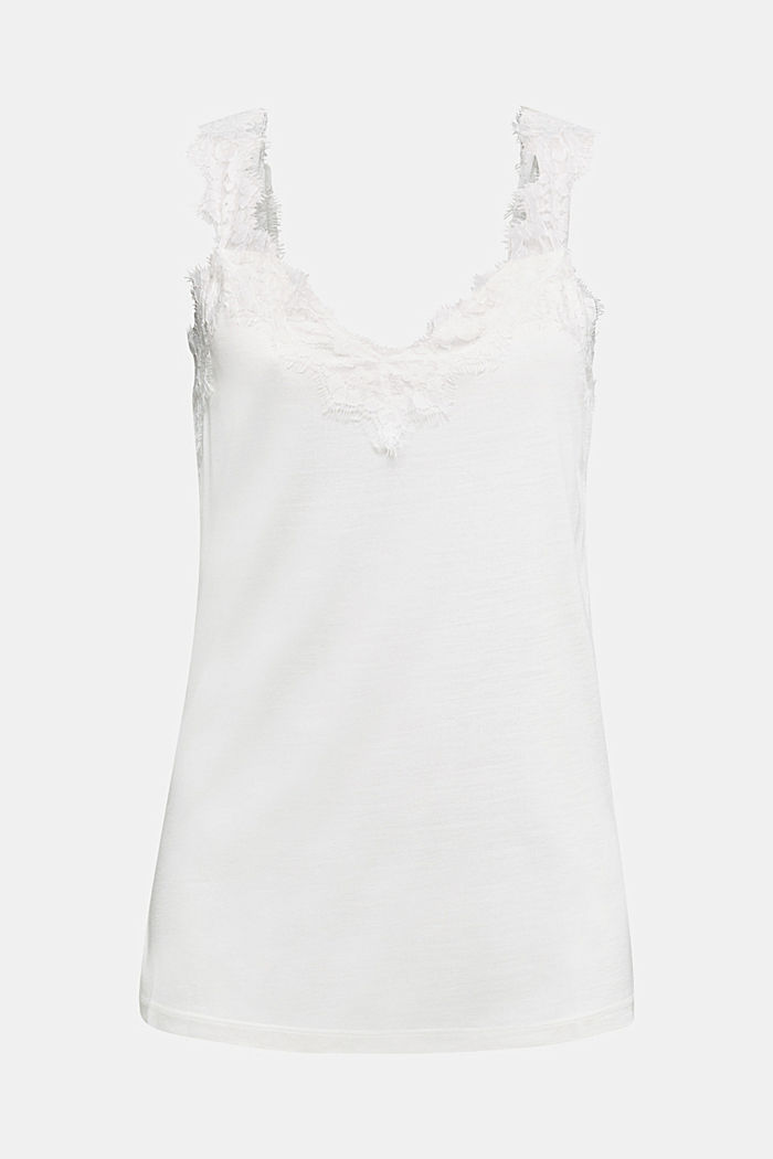 Jersey top with lace, OFF WHITE, detail image number 3