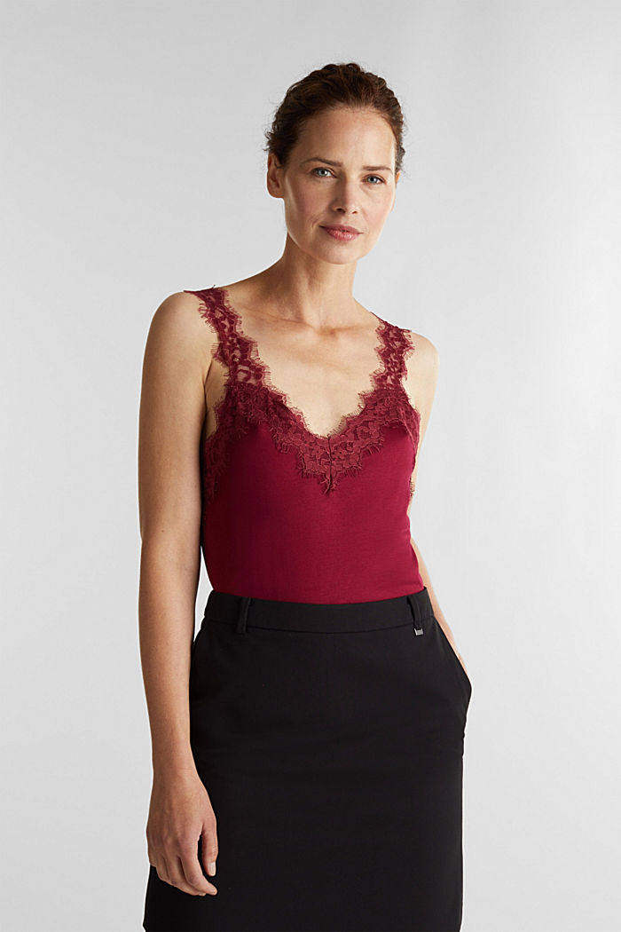Jersey top with lace, BORDEAUX RED, detail image number 0