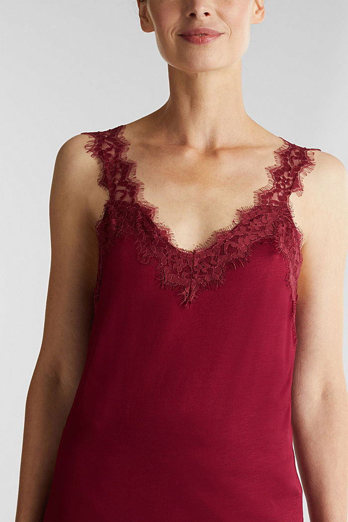 Jersey top with lace, BORDEAUX RED, detail image number 2