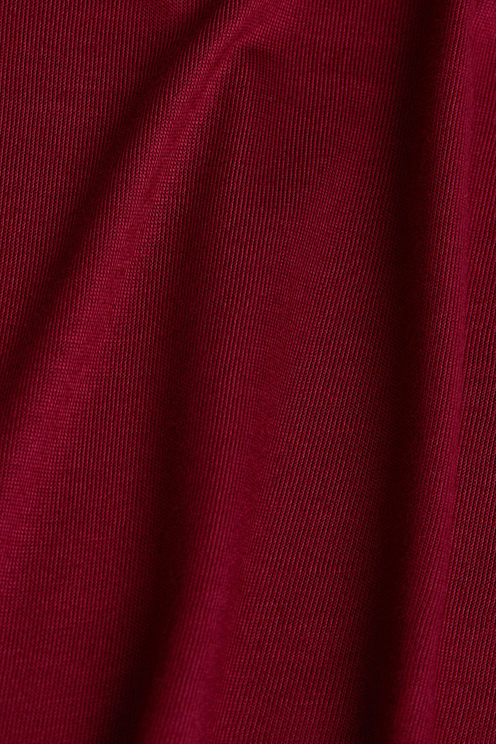 Jersey top with lace, BORDEAUX RED, detail image number 4