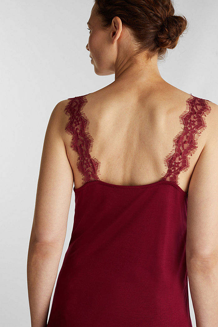 Jersey top with lace, BORDEAUX RED, detail image number 5