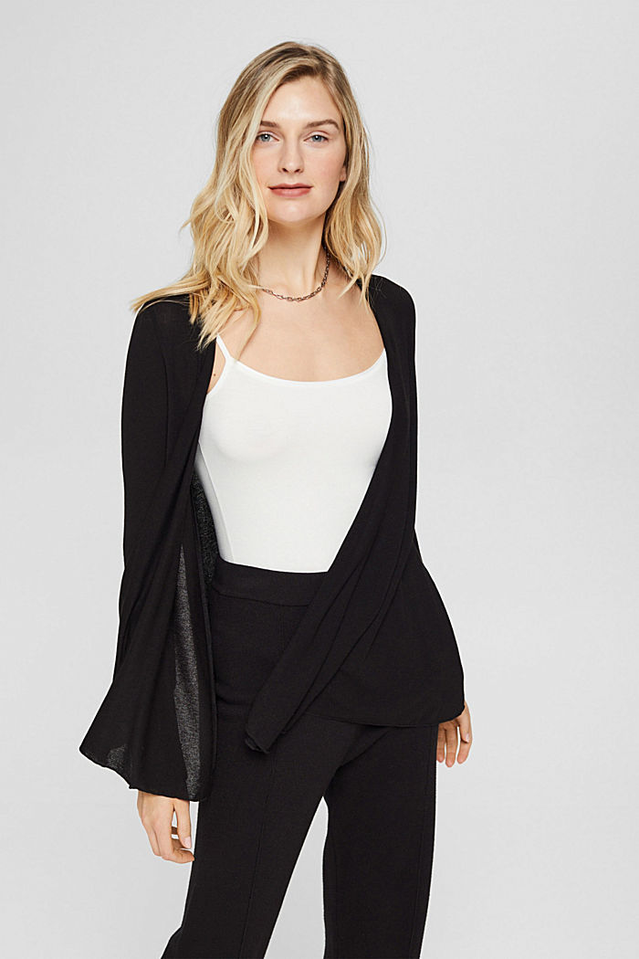 Open cardigan made of jersey, BLACK, overview