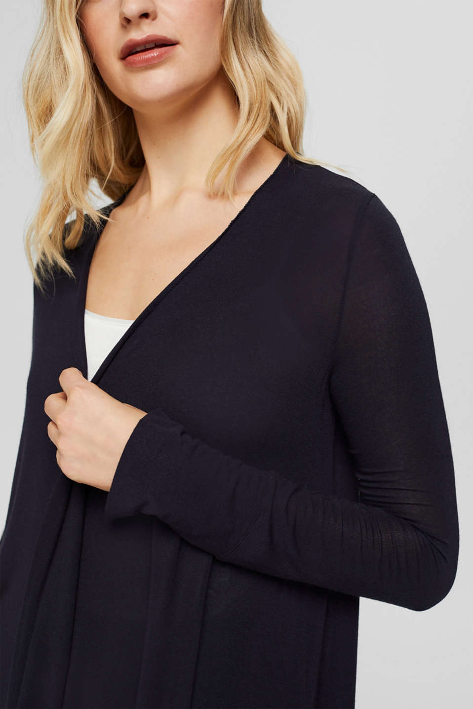 Open cardigan made of jersey, NAVY, detail image number 2