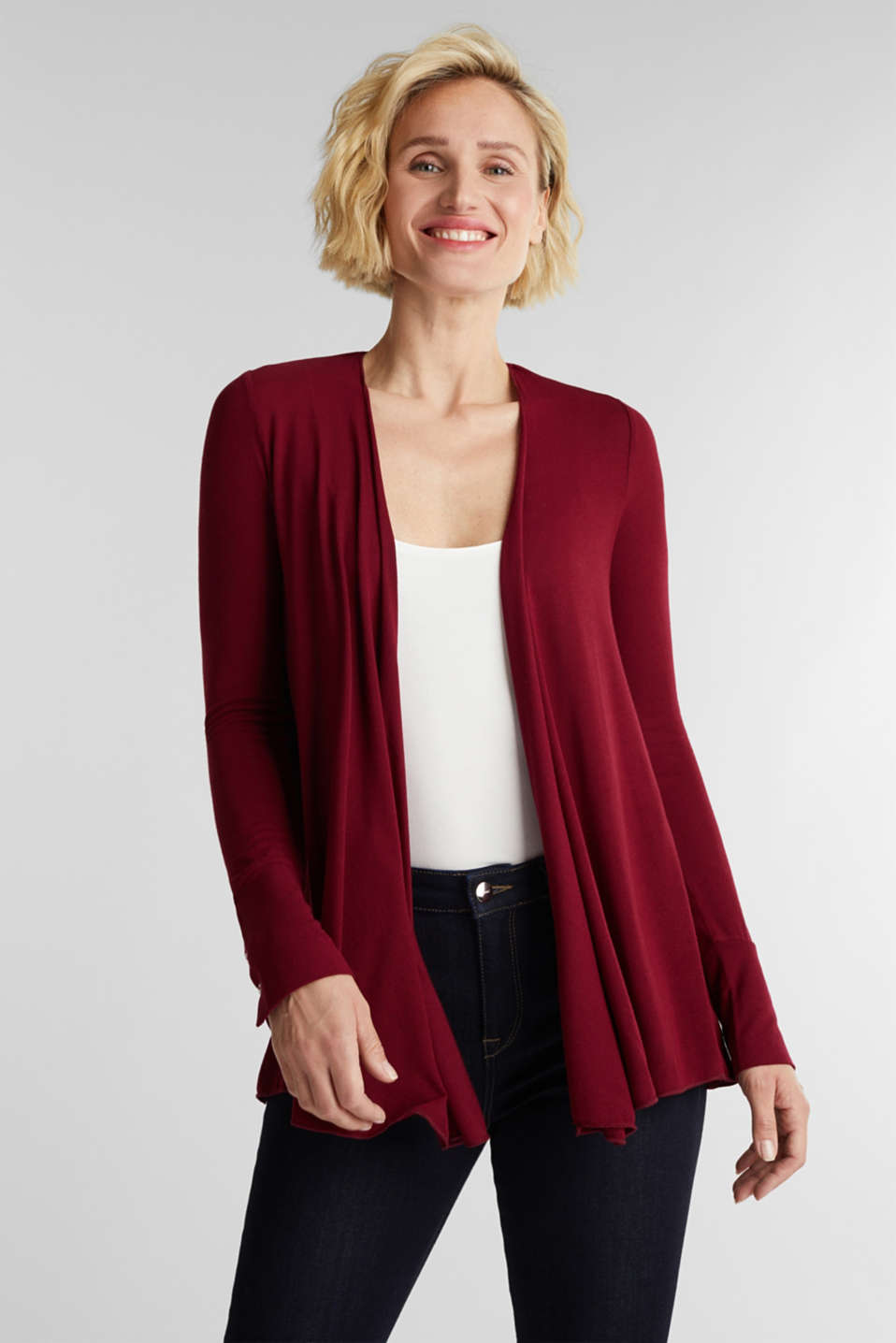 Open cardigan made of jersey, BORDEAUX RED, detail image number 0