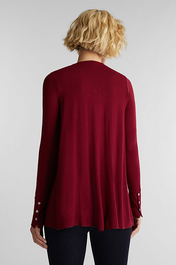 Open cardigan made of jersey, BORDEAUX RED, detail image number 3