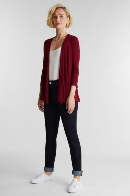 Open cardigan made of jersey, BORDEAUX RED, detail