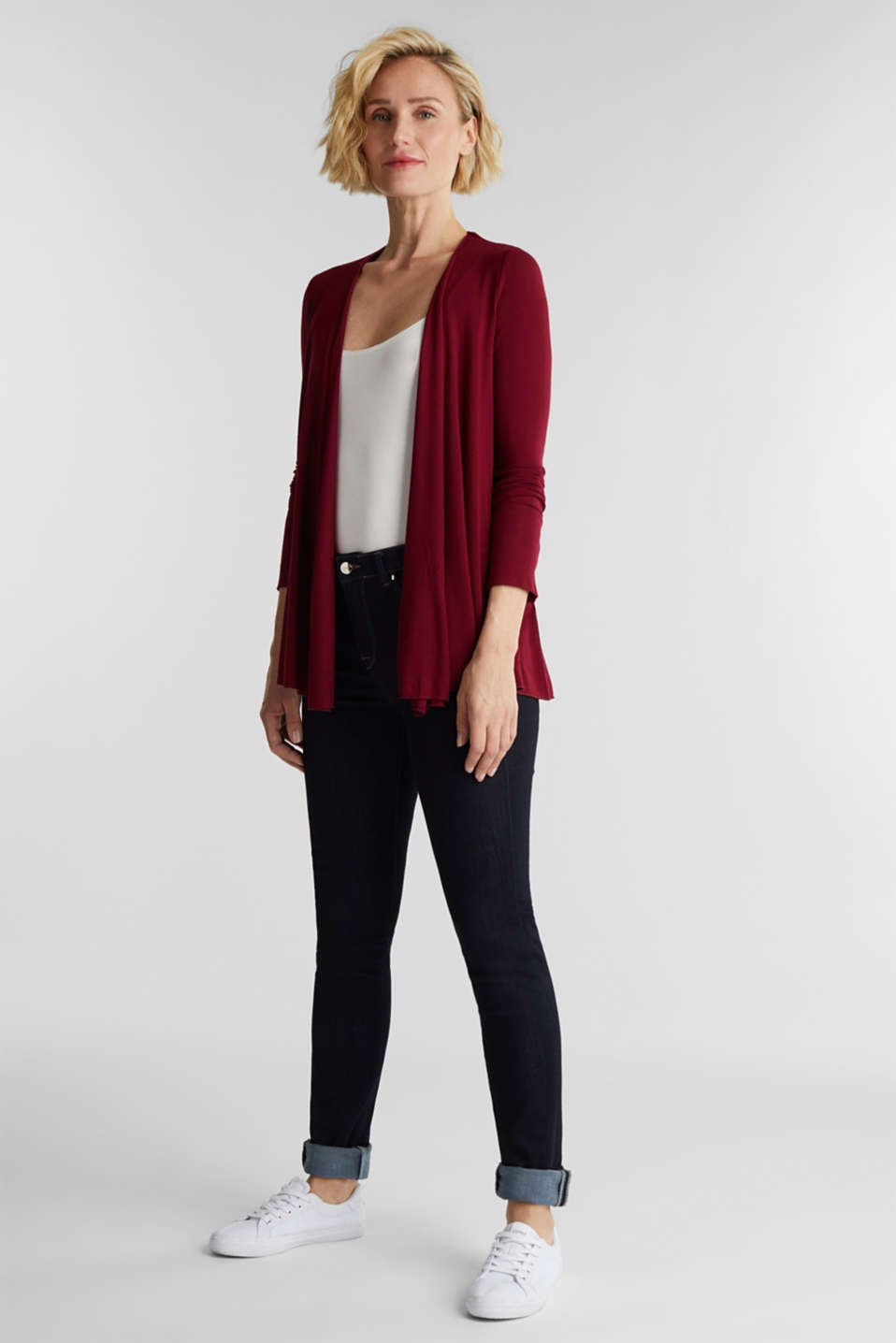 Open cardigan made of jersey, BORDEAUX RED, detail image number 1