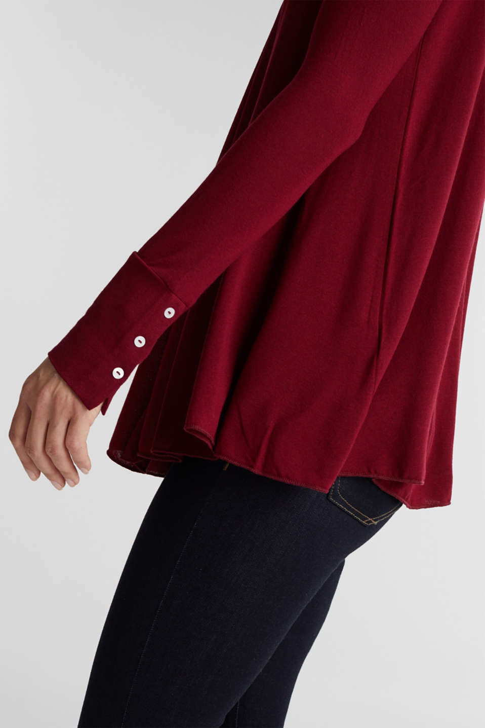 Open cardigan made of jersey, BORDEAUX RED, detail image number 2