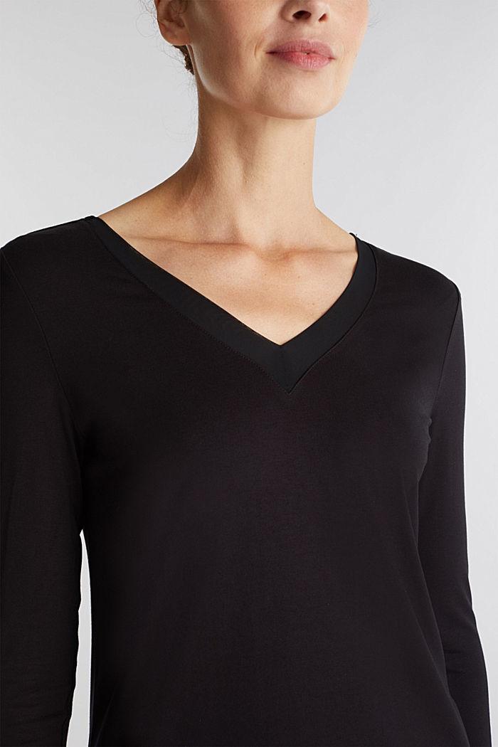 Long sleeve top with a V-neckline, BLACK, detail image number 2