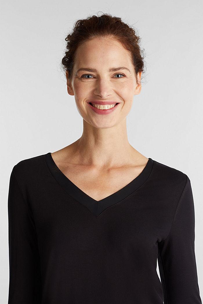 Long sleeve top with a V-neckline, BLACK, detail image number 6