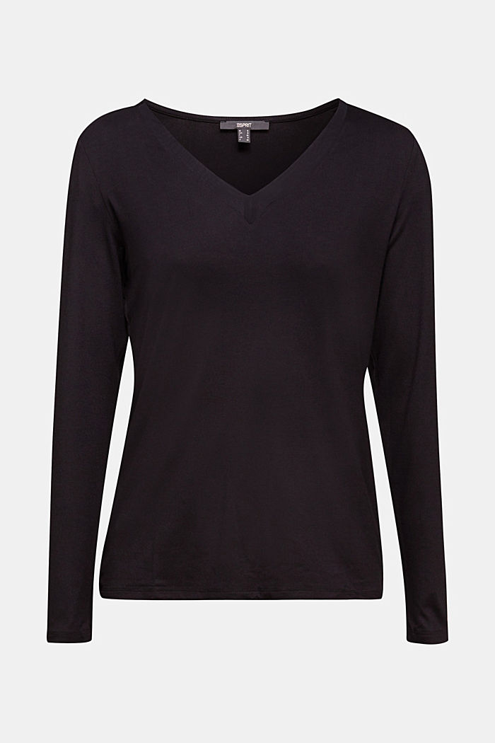 Long sleeve top with a V-neckline, BLACK, detail image number 7