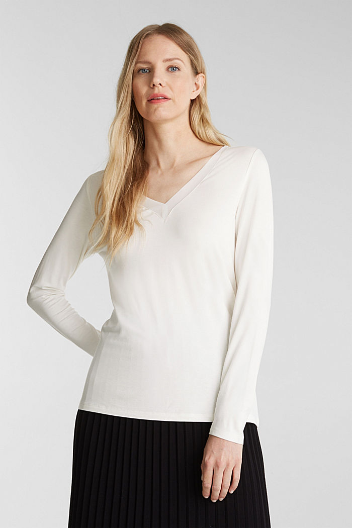 Long sleeve top with a V-neckline, OFF WHITE, detail image number 0