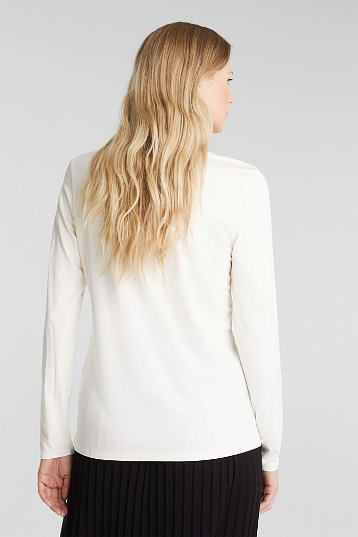 Long sleeve top with a V-neckline, OFF WHITE, detail image number 3