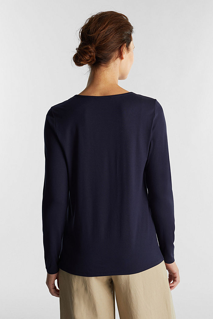 Long sleeve top with a V-neckline, NAVY, detail image number 3