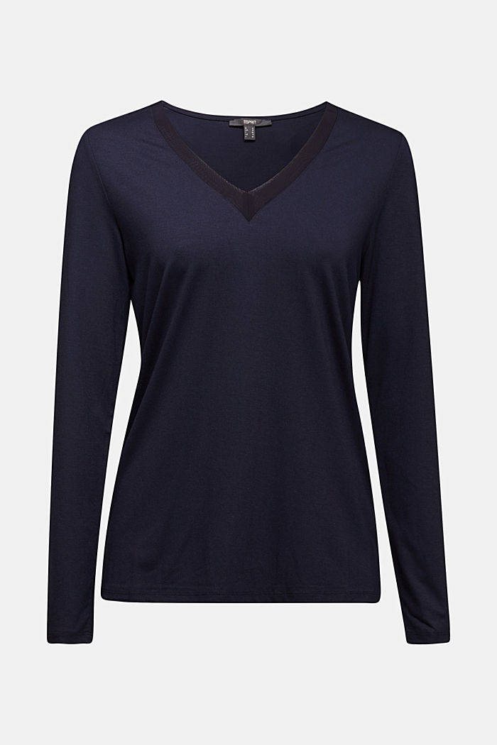 Long sleeve top with a V-neckline, NAVY, detail image number 6