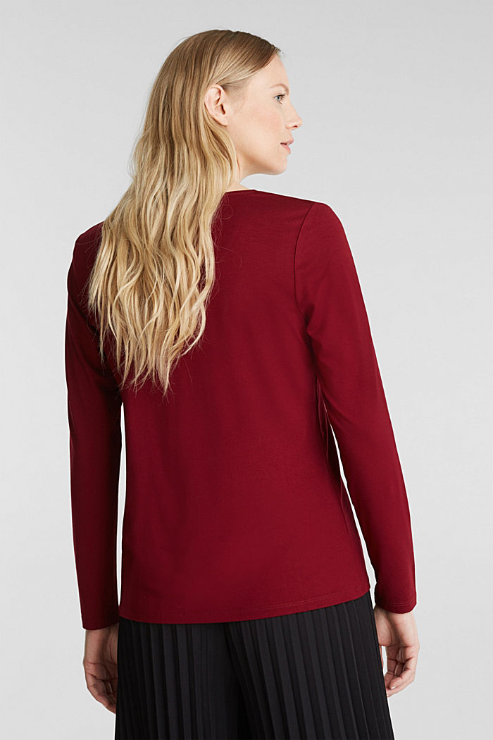 Long sleeve top with a V-neckline, BORDEAUX RED, detail image number 2