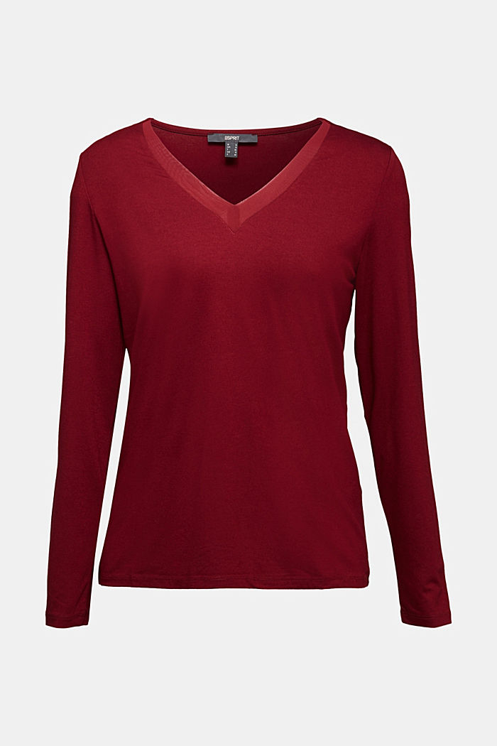 Long sleeve top with a V-neckline, BORDEAUX RED, detail image number 4