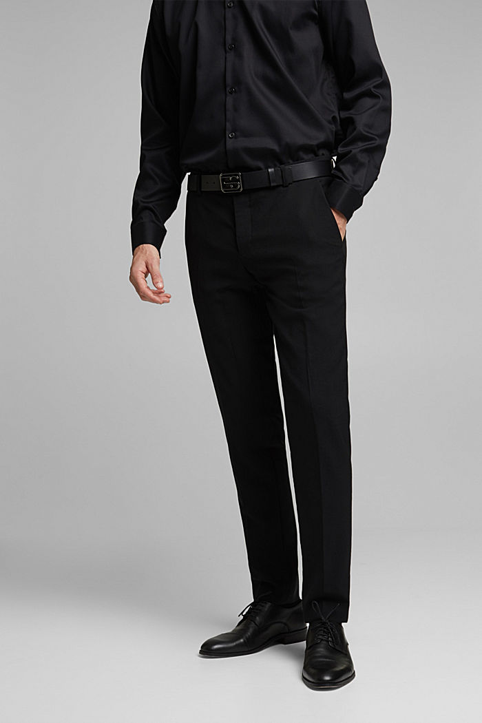 ACTIVE SUIT BLACK trousers made of blended wool, BLACK, detail image number 0