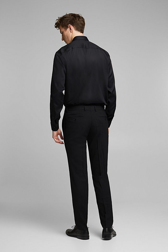 ACTIVE SUIT BLACK trousers made of blended wool, BLACK, detail image number 1