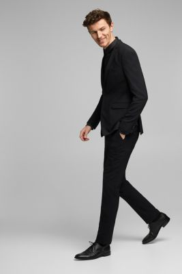 ACTIVE SUIT BLACK trousers made of blended wool, BLACK, detail