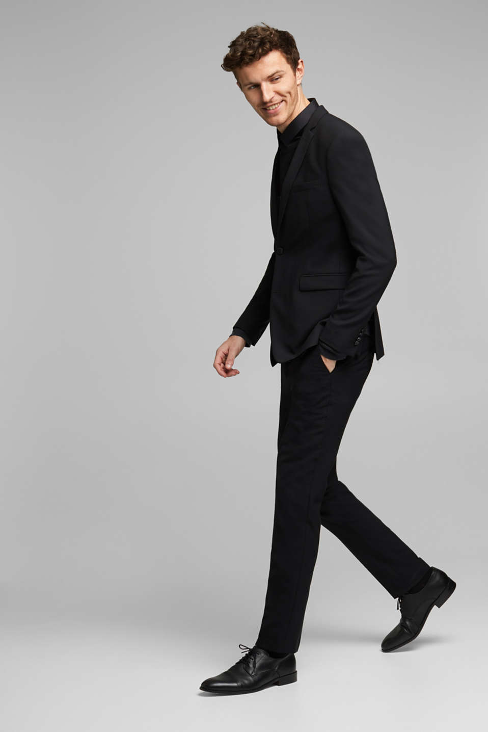 ACTIVE SUIT BLACK trousers made of blended wool, BLACK, detail image number 2