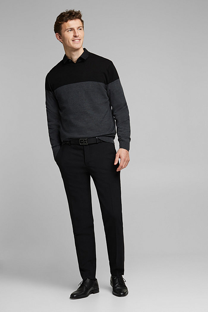ACTIVE SUIT BLACK trousers made of blended wool, BLACK, detail image number 7